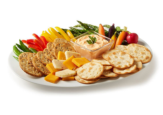 Milton's Organic Multi-Grain and Himalayan Salt Cracker platter with smoked cheddar, Pepper Jack cheeses and fresh cut vegetables
