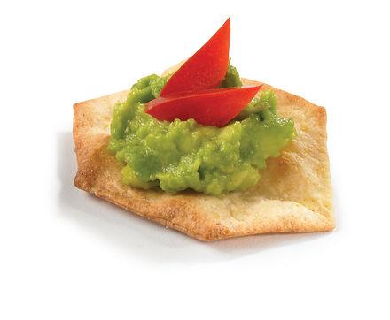 Milton's Gluten Free Crispy Sea Salt Crackers, fresh guacamole & diced red pepper