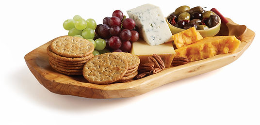 Milton's Organic Toasted Onion Cracker platter with red and green grapes, cheeses and an olive medley