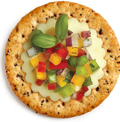 Milton's Gourmet Everything Crackers topped with Provolone cheese, a sweet pepper medley, onions and chives