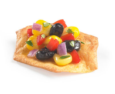 Milton's Gluten Free Cheddar Cheese Crackers paired with zesty black bean & corn salsa