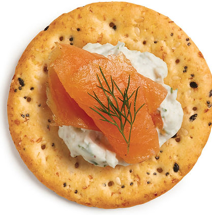 Gourmet Multi-Grain Crackers with savory cream cheese and smoked salmon
