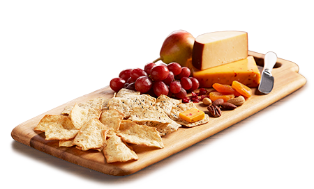 Milton's Gluten Free Sea Salt & Everything Cracker platter with smoked Gouda & cheddar cheeses, dried fruits, nuts and red grapes