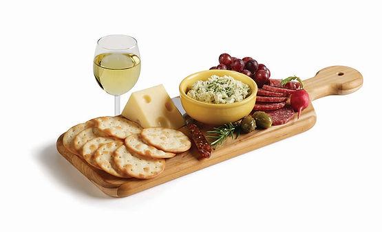 Milton's Organic Rosemary & Garlic Cracker platter with swiss cheese & hard salami