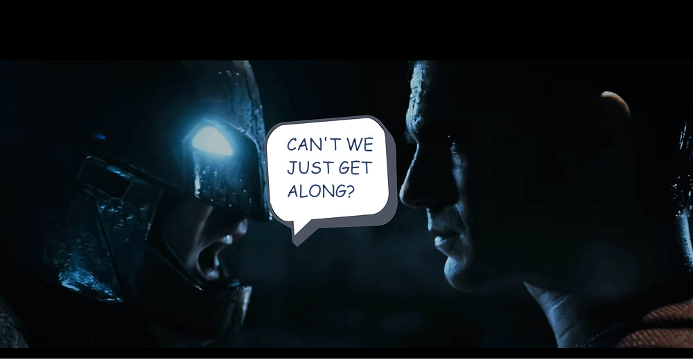 Batman arguing with Superman