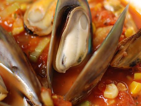 Mussel & Corn Chowder in Tomato Broth