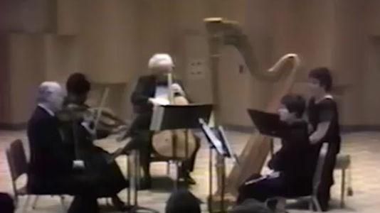 Allegro. Concerto for Flute, Harp, and Orchestra in C major K299.  Wolfgang Amadeus Mozart.  ​  Janice Ortega, harp. Accompanied by music faculty of California State University East Bay. Roberta Brokaw, flute. Allan Gove, cello. Nathan (Nate) Rubin, violin. Eric Hanson, violin. Joffria Whitfield, viola.