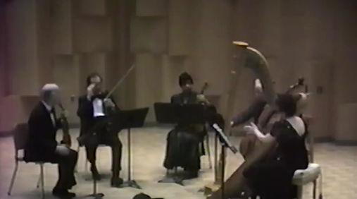 Aria in a Classic Style. Marcel Grandjany, composer. Janice Ortega, Harp, accompanied by Music Faculty of California State University East Bay. Allan Gove, cello. Nathan (Nate) Rubin, violin. Eric Hanson, violin. Joffria Whitfield, viola.