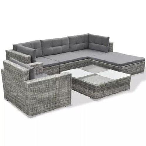 6 Piece Rattan Garden Lounge Set