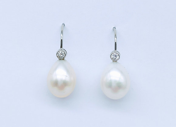 White Gold, Pearl & Diamond Drop Earrings