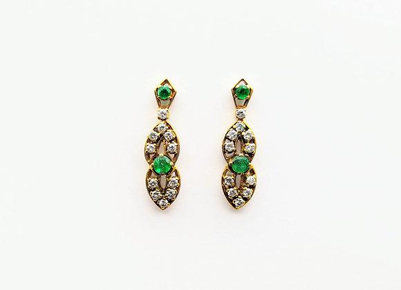 Yellow Gold Emerald & Diamond Drop Earrings