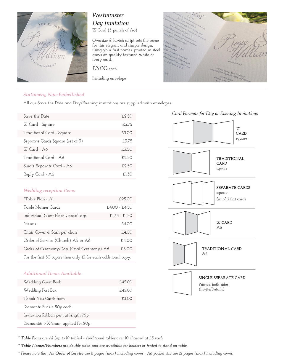 Westminster Wedding Stationery Price Guide - Designed by Archibald Edwards