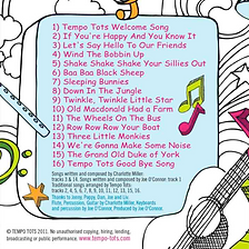 Tempo Tots Music CD | Song List | CD only Tempo Tots Music CD | Only £7.99