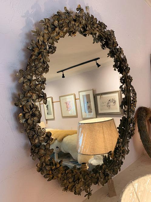 Large Floral Round Mirror
