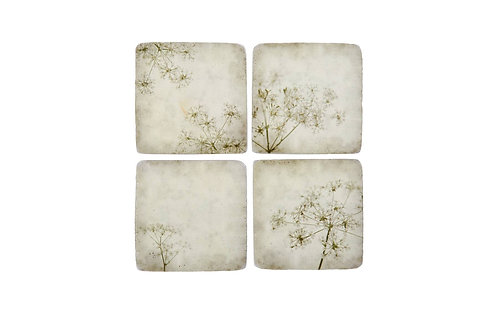 Taupe Cow Parsley Tile Coasters x4