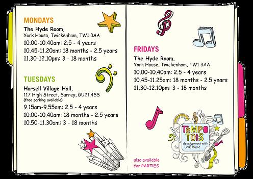 Class Timetable | Tempo Tots | Surrey