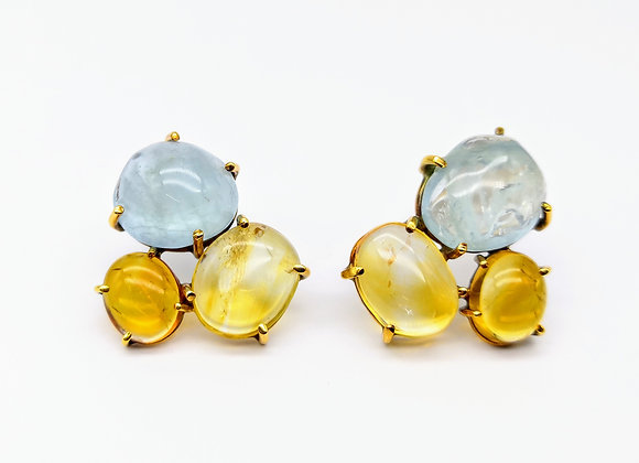 Yellow Gold Aquamarine & Citrine Ear Clips