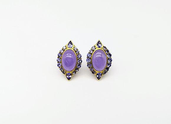18ct Lavender Jade & Iolite Stud Earrings