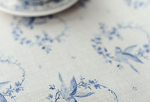 Birdsong (Large or Small) ~ Royal Blues on Stone Linen  £1.95–£64.00  Stunning v
