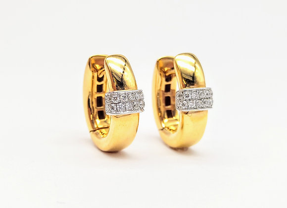18ct Diamond Set Small Hoop Earrings