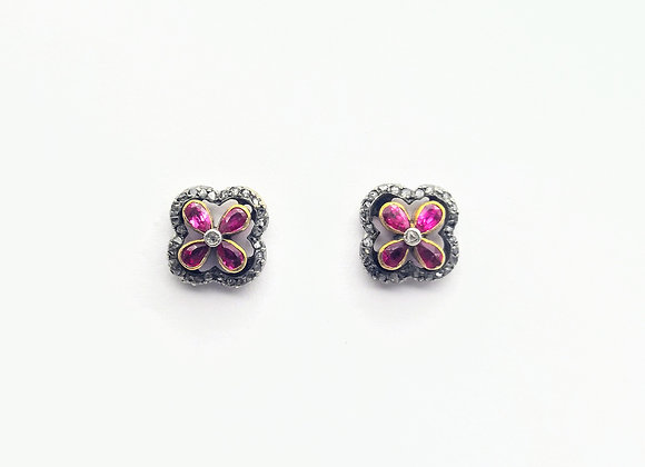 15ct & Silver Victorian Ruby & Diamond Ear Studs