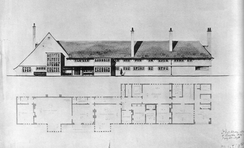 Charles Voysey - Greyfriars House Plan Drawing