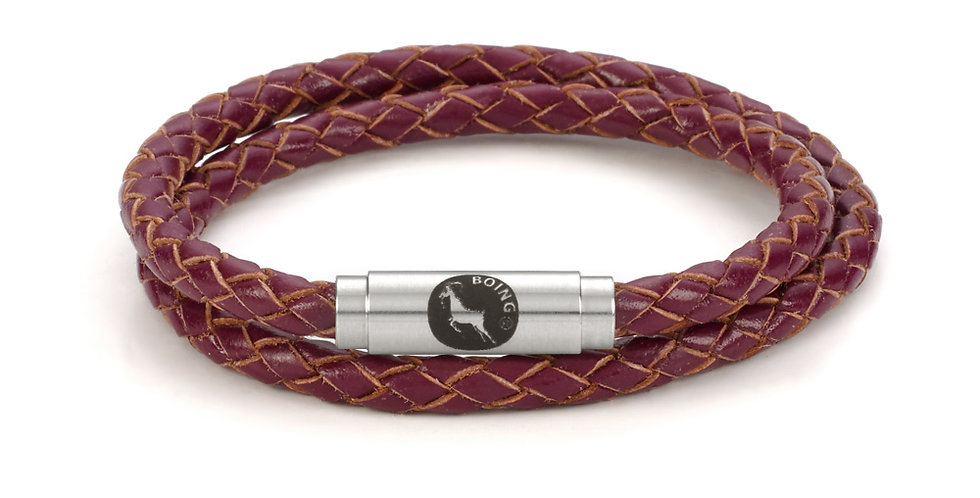 Boing Magenta Leather Double Bracelet