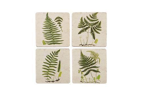 Green Ferns Tile Coasters x4