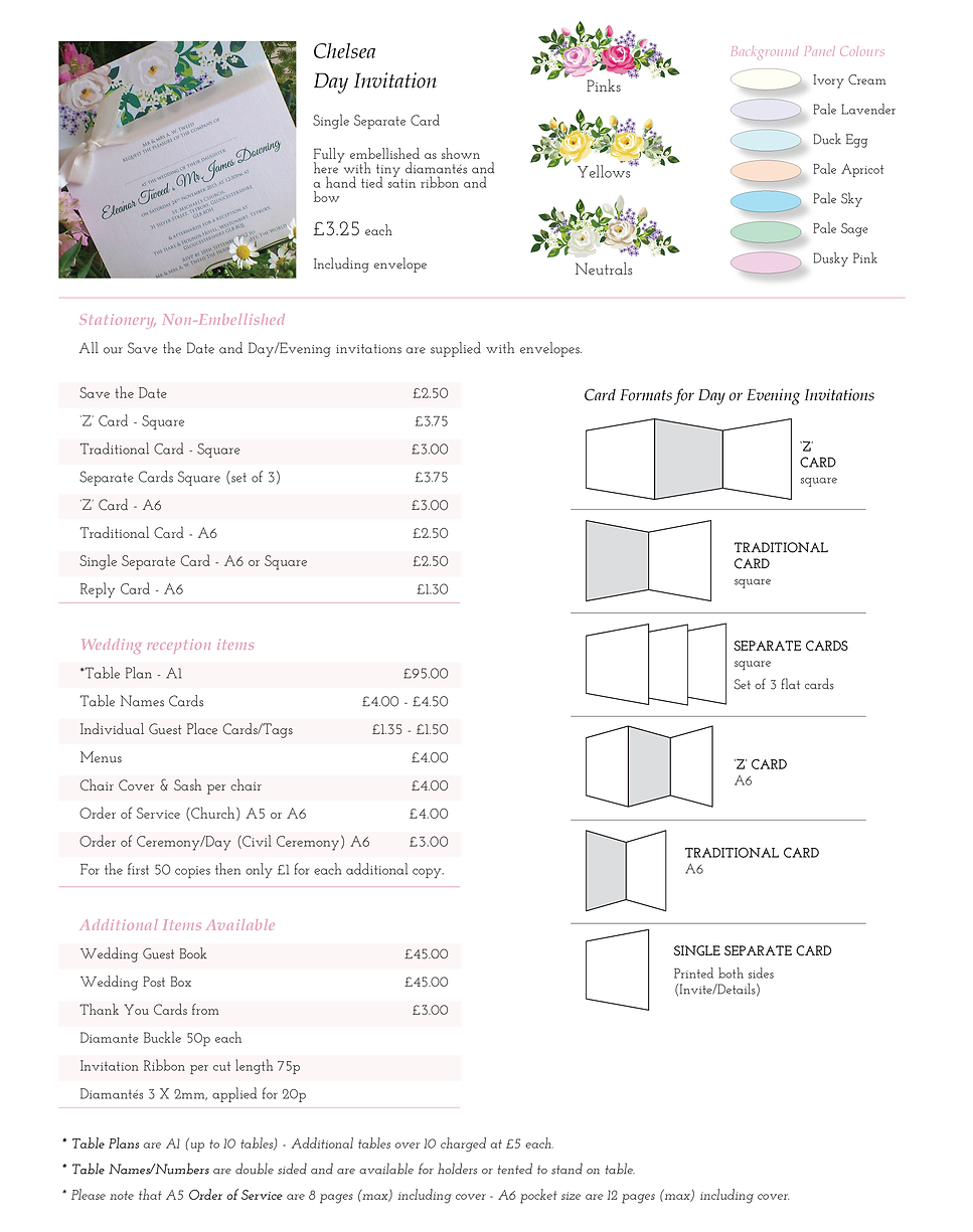 Chelsea Wedding Stationery Price Guide - Designed by Archibald Edwards