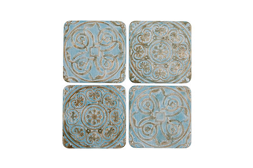 Pale blue Patterned Tile Coasters x4