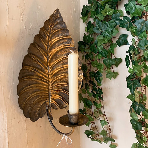 Wall Mounted Gilded Leaf Sconce Candle