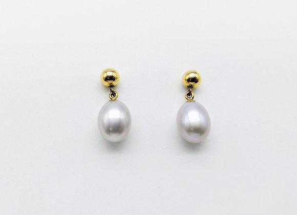 14kt Light Grey Drop Pearl Earrings