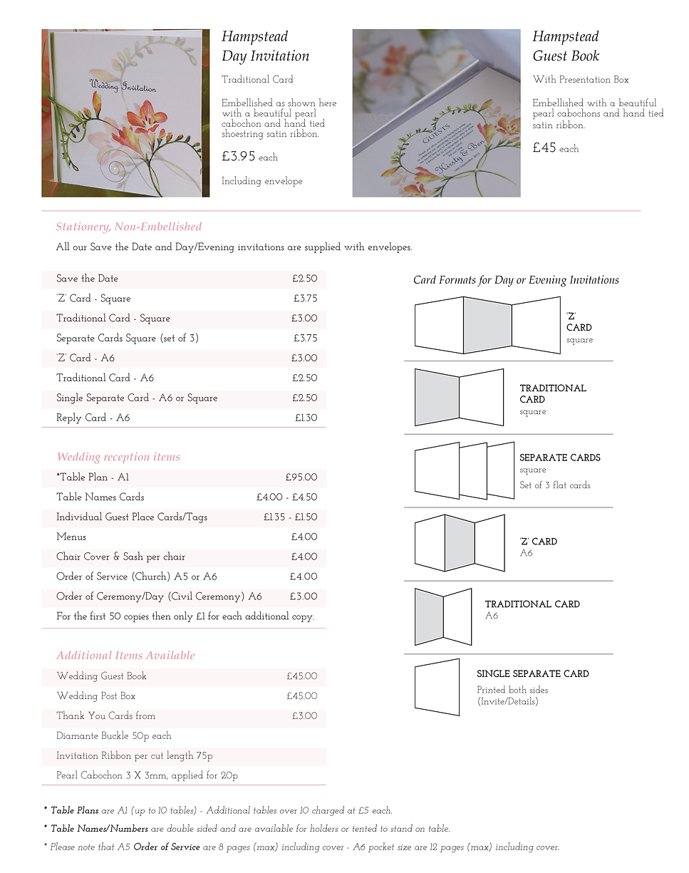 Hampstead Wedding Stationery Price Guide - Designed by Archibald Edwards