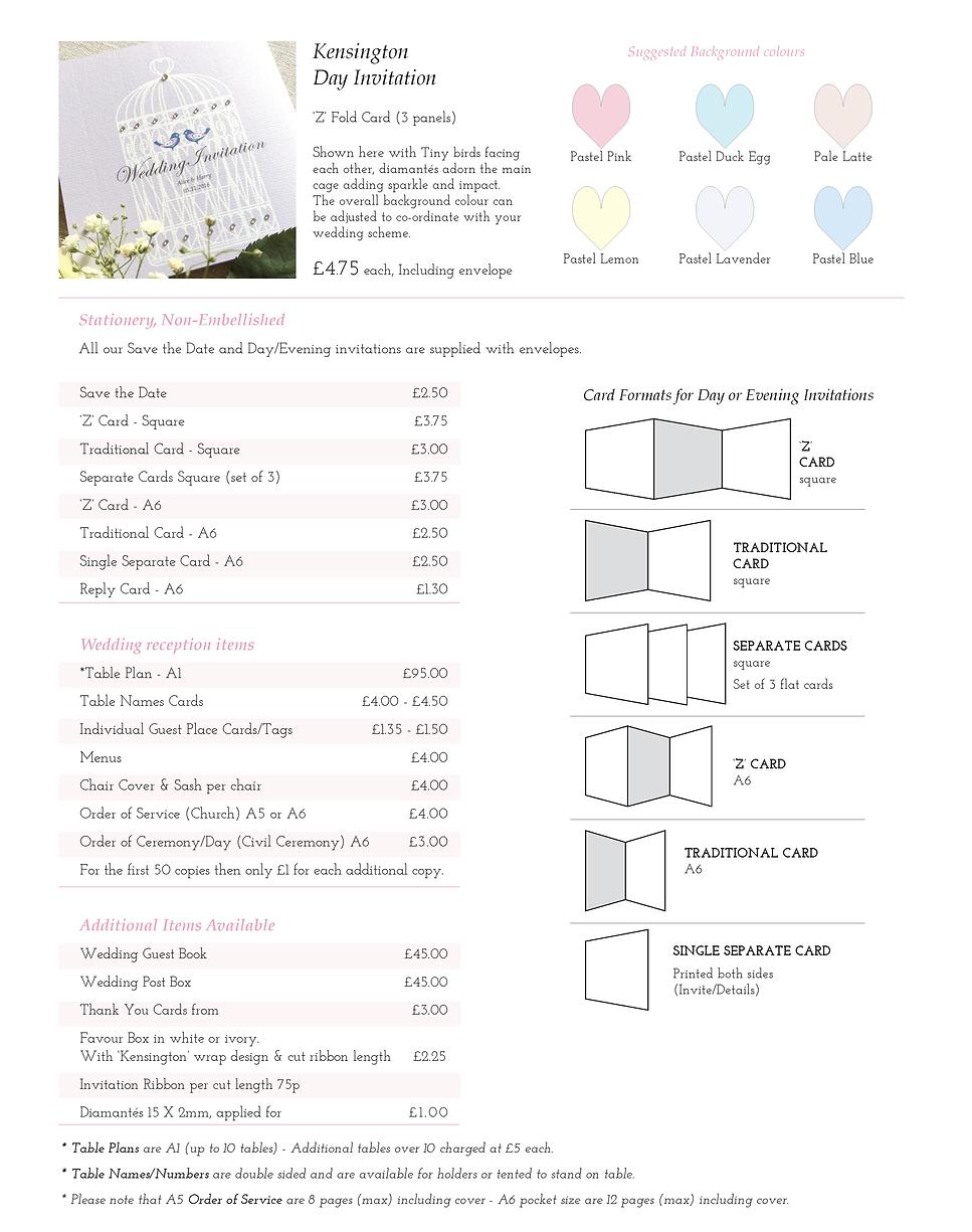 Kensington Wedding Stationery Price Guide - Designed by Archibald Edwards