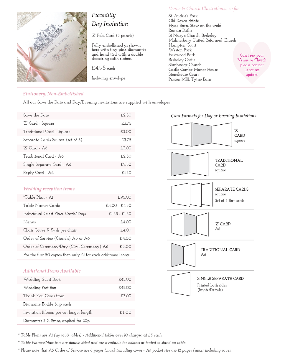 Piccadilly Wedding Stationery Price Guide - Designed by Archibald Edwards