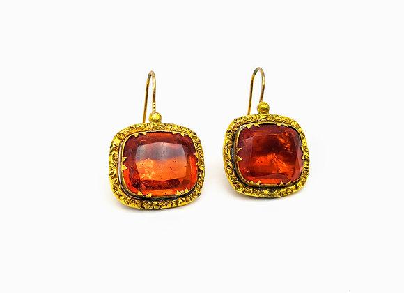 Gold & Pinchbeck Georgian Paste Drop Earrings