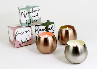 Scented Candle in Metal Vessel