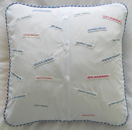 Examples of Nametapes and badges on the back of cushions