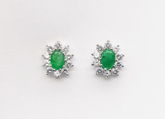 18ct Oval Emerald & Diamond Cluster Stud Earrings