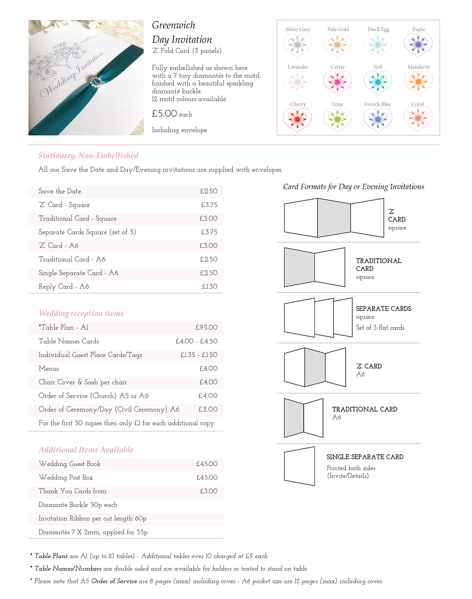 Greenwich Wedding Stationery Price Guide - Designed by Archibald Edwards