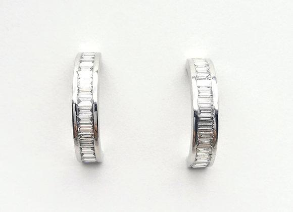 18ct Channel Set Diamond Hoop Earrings