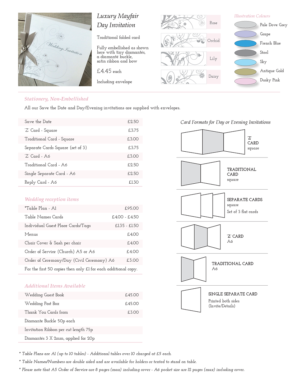 Mayfair Wedding Stationery Price Guide - Designed by Archibald Edwards