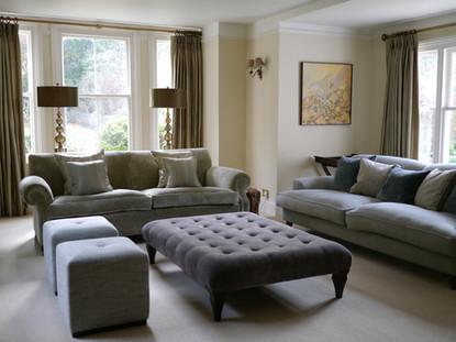 Sofa and footstool arrangement