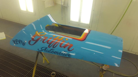 Airbrushed lettering and stripes