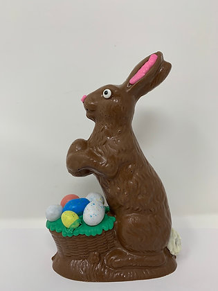 Solid Chocolate Decorated Bunny with Egg Basket