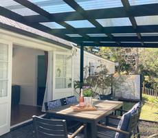 Covered private patio area
