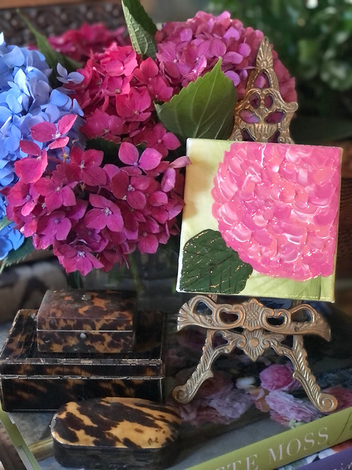 Hydrangea painting with vintage stand
