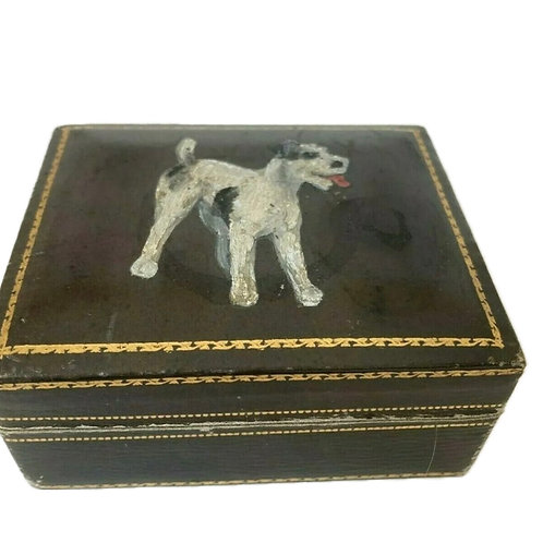 Hand painted leather dog box