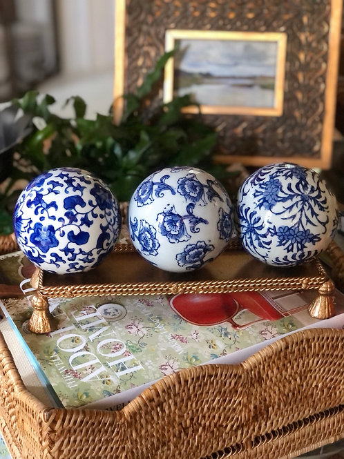 Blue and white carpet balls