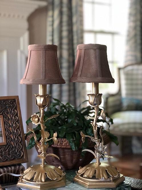 Tole lamp pair
